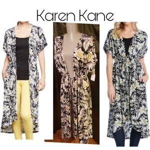 Karen Kane Black/White Cardigan Duster. Sz Sm